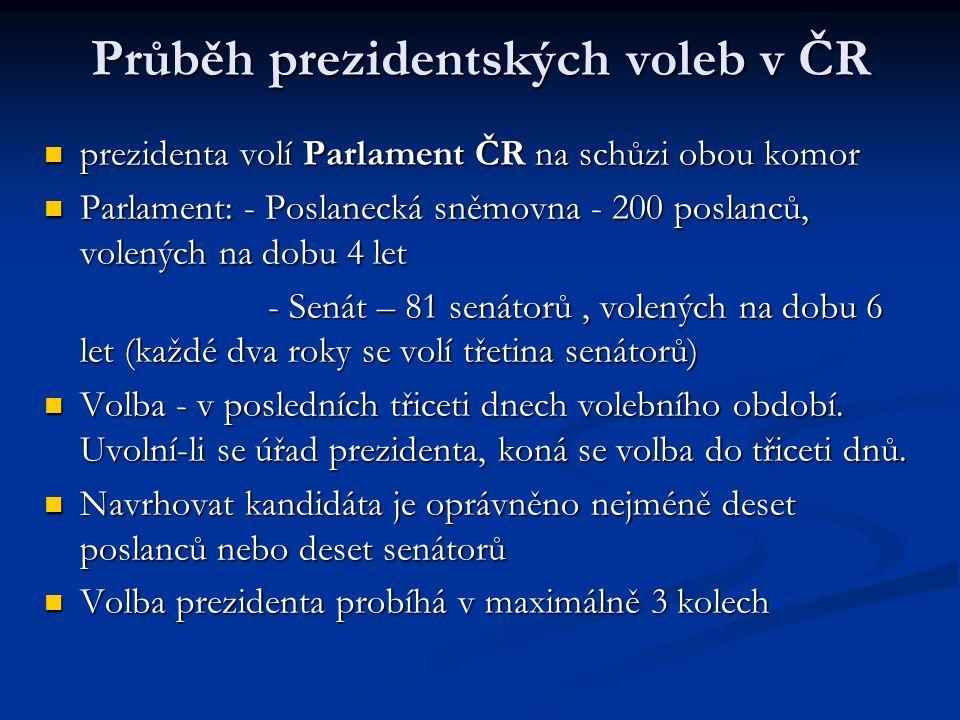 Průběh prezidentských voleb v ČR prezidenta volí Parlament ČR na schůzi obou komor Parlament: - Poslanecká sněmovna - 200 poslanců, volených na dobu 4