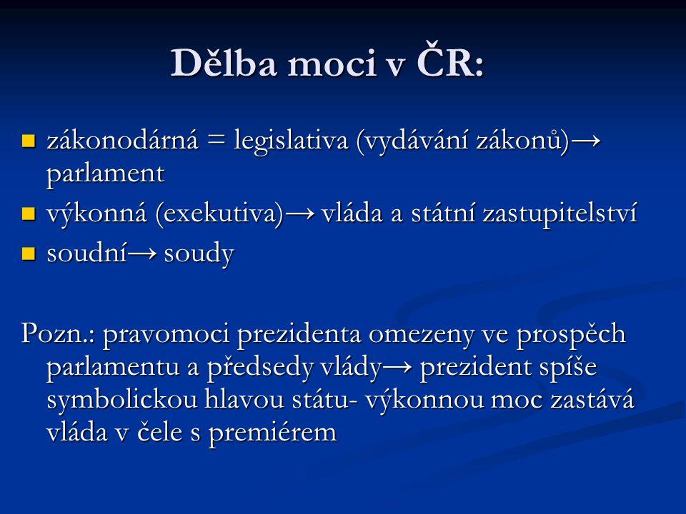 Dělba moci v ČR: zákonodárná = legislativa (vydávání zákonů)→ parlament výkonná (exekutiva)→ vláda a státní zastupitelství soudní→ soudy Pozn.: pravom