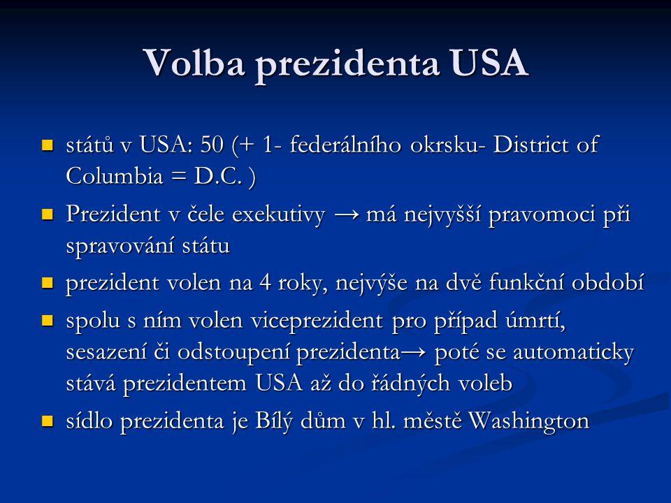 Volba prezidenta USA států v USA: 50 (+ 1- federálního okrsku- District of Columbia = D.C. ) států v USA: 50 (+ 1- federálního okrsku- District of Col
