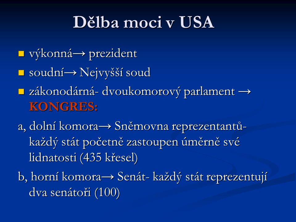 Dělba moci v USA výkonná→ prezident výkonná→ prezident soudní→ Nejvyšší soud soudní→ Nejvyšší soud zákonodárná- dvoukomorový parlament → KONGRES: záko