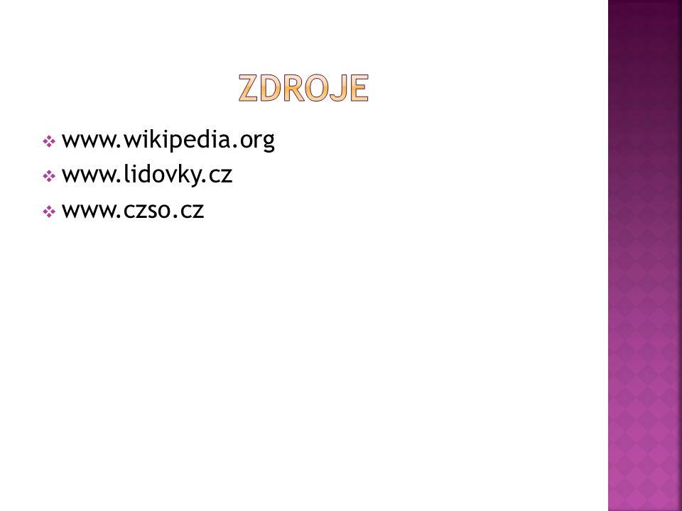  www.wikipedia.org  www.lidovky.cz  www.czso.cz
