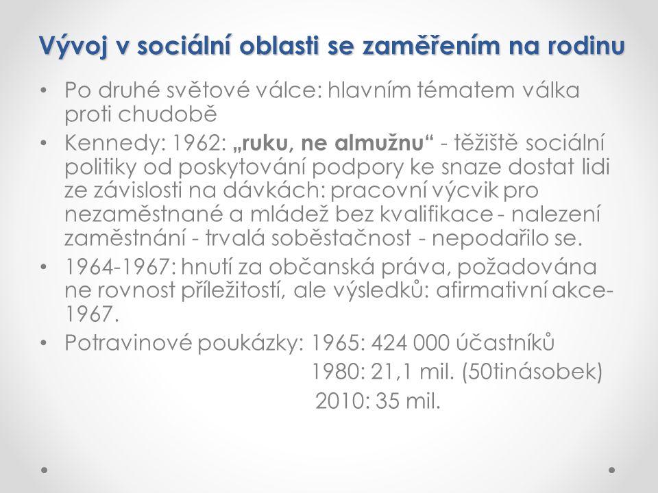 """Vývoj v sociální oblasti se zaměřením na rodinu Po druhé světové válce: hlavním tématem válka proti chudobě Kennedy: 1962: """"ruku, ne almužnu - těžiště sociální politiky od poskytování podpory ke snaze dostat lidi ze závislosti na dávkách: pracovní výcvik pro nezaměstnané a mládež bez kvalifikace - nalezení zaměstnání - trvalá soběstačnost - nepodařilo se."""