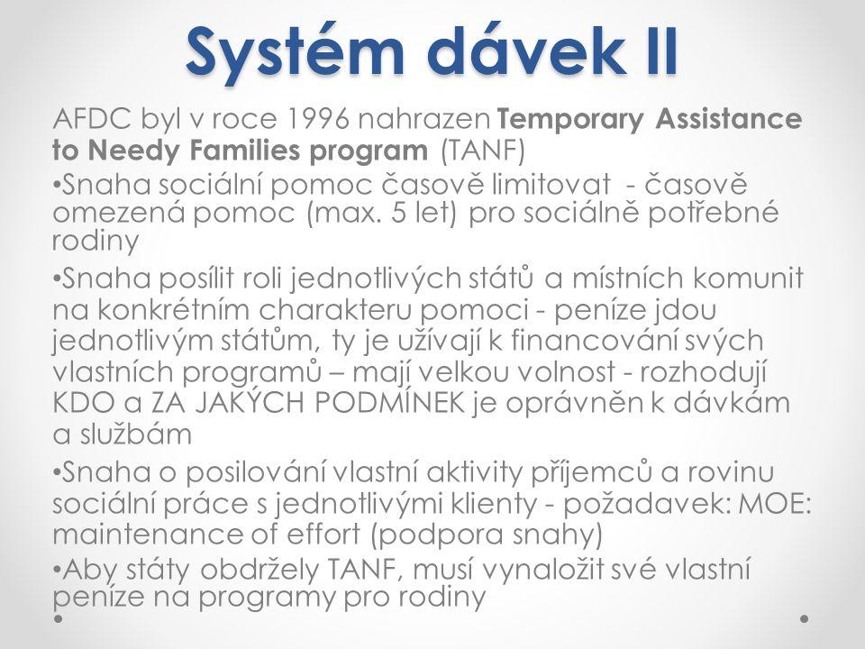 Systém dávek II AFDC byl v roce 1996 nahrazen Temporary Assistance to Needy Families program (TANF) Snaha sociální pomoc časově limitovat - časově omezená pomoc (max.
