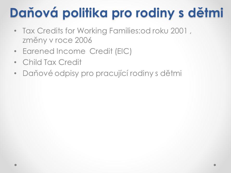 Daňová politika pro rodiny s dětmi Tax Credits for Working Families:od roku 2001, změny v roce 2006 Earened Income Credit (EIC) Child Tax Credit Daňové odpisy pro pracující rodiny s dětmi