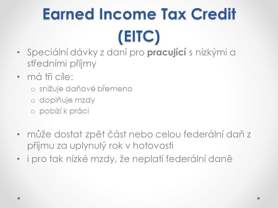 Earned Income Tax Credit (EITC) Speciální dávky z daní pro pracující s nízkými a středními příjmy má tři cíle: o snižuje daňové břemeno o doplňuje mzdy o pobízí k práci může dostat zpět část nebo celou federální daň z příjmu za uplynulý rok v hotovosti i pro tak nízké mzdy, že neplatí federální daně
