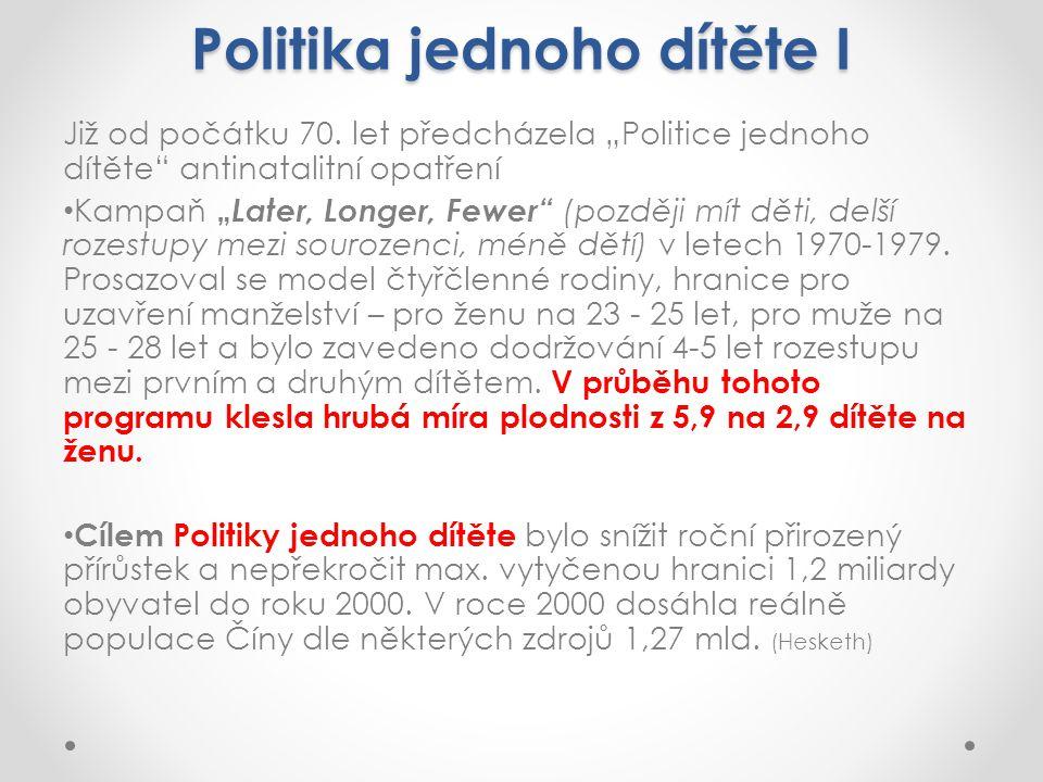 Politika jednoho dítěte I Již od počátku 70.