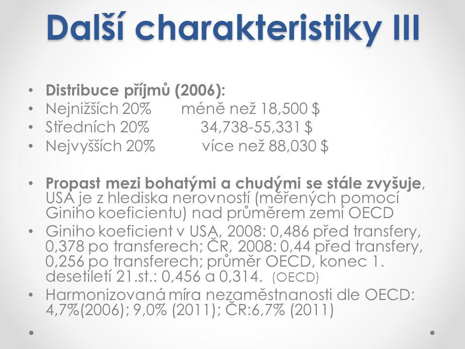 Distribuce příjmů (2006): Nejnižších 20% méně než 18,500 $ Středních 20% 34,738-55,331 $ Nejvyšších 20% více než 88,030 $ Propast mezi bohatými a chudými se stále zvyšuje, USA je z hlediska nerovností (měřených pomocí Giniho koeficientu) nad průměrem zemí OECD Giniho koeficient v USA, 2008: 0,486 před transfery, 0,378 po transferech; ČR, 2008: 0,44 před transfery, 0,256 po transferech; průměr OECD, konec 1.