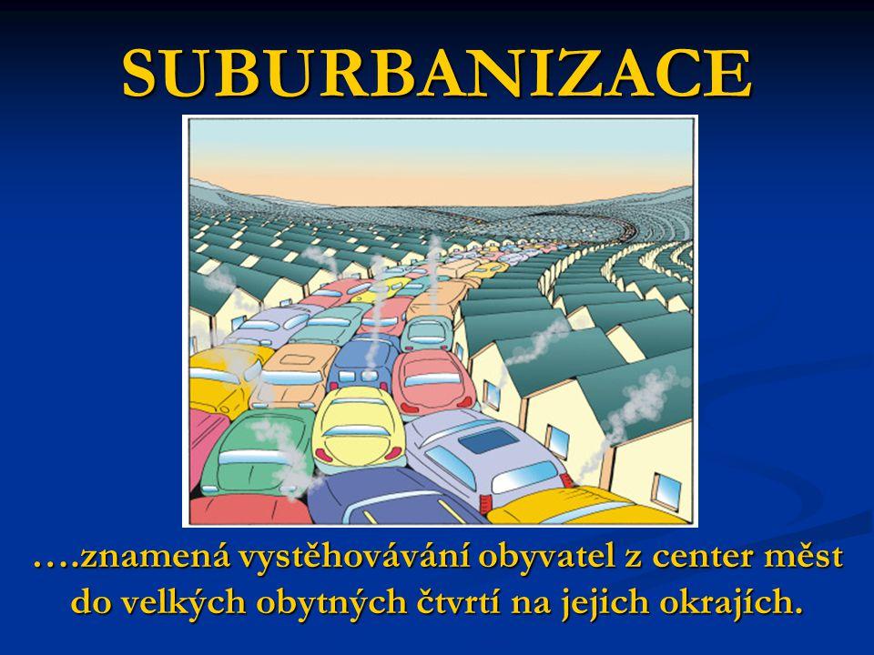 SUBURBANIZACE ….znamená vystěhovávání obyvatel z center měst do velkých obytných čtvrtí na jejich okrajích.