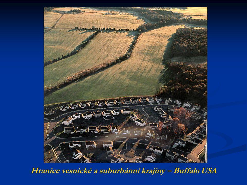  V USA a Kanadě suburbanizace vytváří obrovské plochy rodinných domů s vysokým podílem nezastavěné plochy.