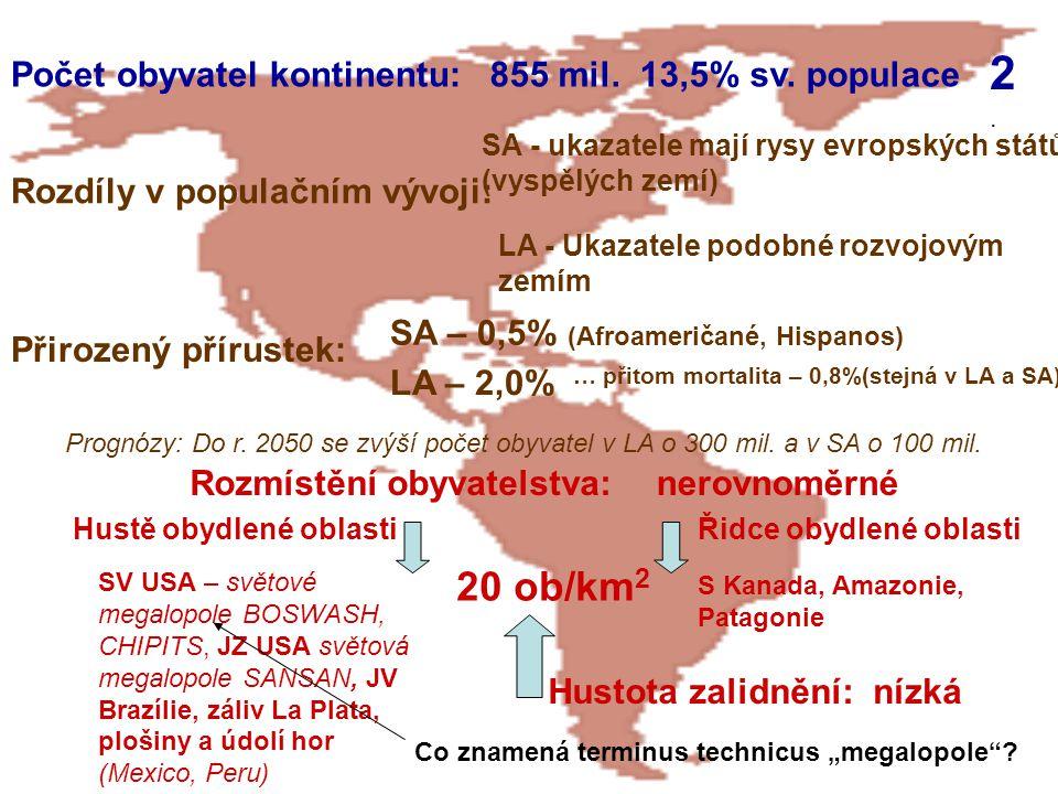 Počet obyvatel kontinentu:855 mil.13,5% sv. populace 2.2. Rozdíly v populačním vývoji: SA - ukazatele mají rysy evropských států (vyspělých zemí) LA -