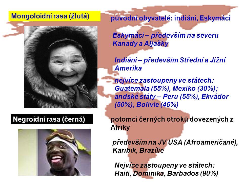 Mongoloidní rasa (žlutá) původní obyvatelé: indiáni, Eskymáci Eskymáci – především na severu Kanady a Aljašky Indiáni – především Střední a Jižní Amer