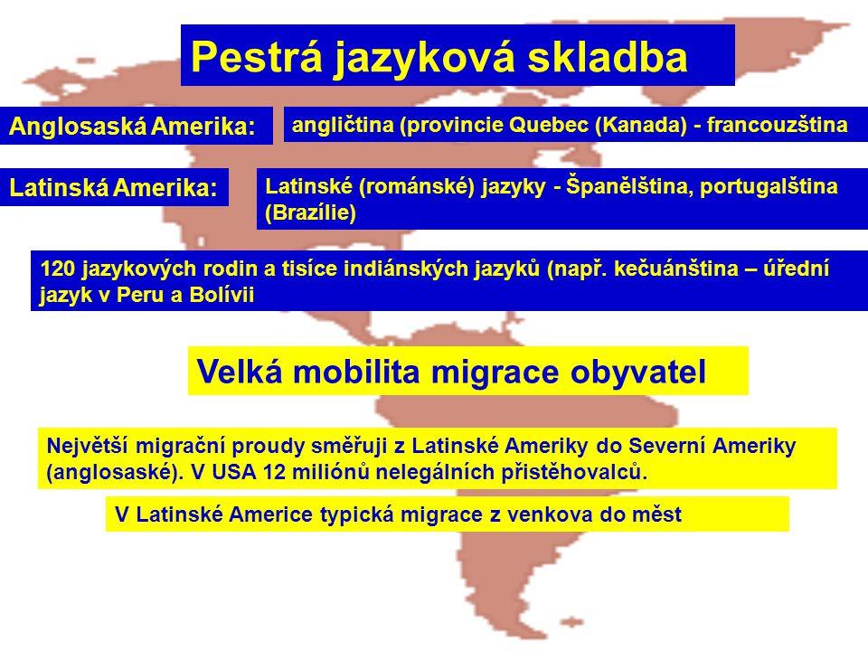 Pestrá jazyková skladba Anglosaská Amerika: angličtina (provincie Quebec (Kanada) - francouzština Latinská Amerika: Latinské (románské) jazyky - Španě