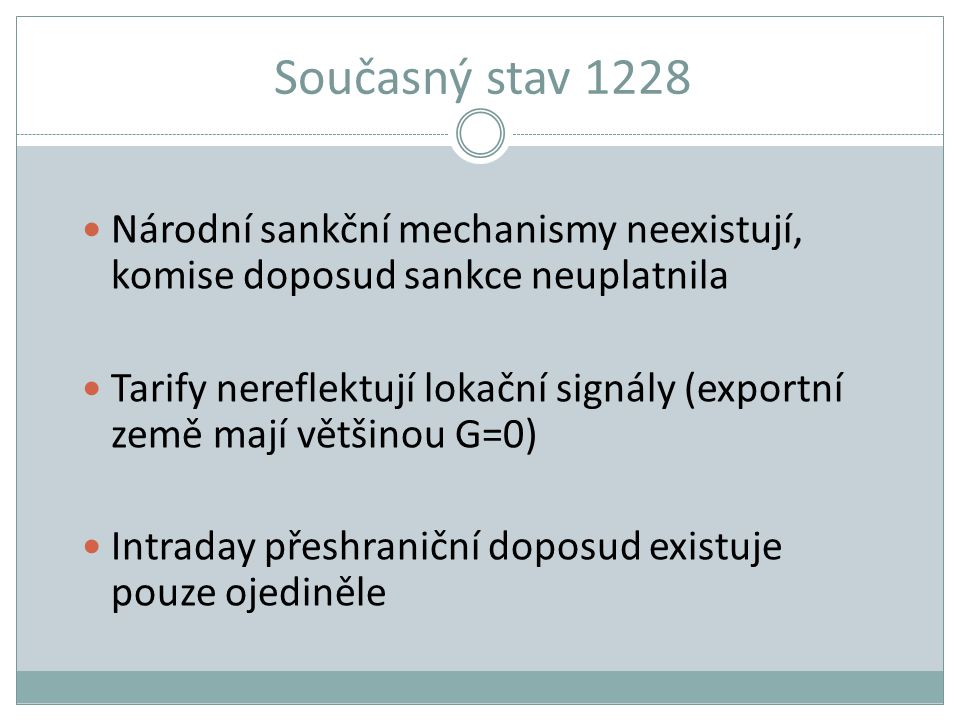 Současný stav 1228 Národní sankční mechanismy neexistují, komise doposud sankce neuplatnila Tarify nereflektují lokační signály (exportní země mají vě