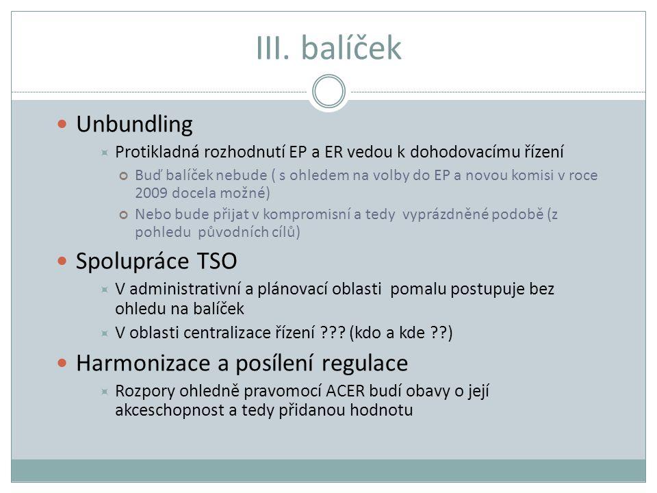 III. balíček Unbundling  Protikladná rozhodnutí EP a ER vedou k dohodovacímu řízení Buď balíček nebude ( s ohledem na volby do EP a novou komisi v ro