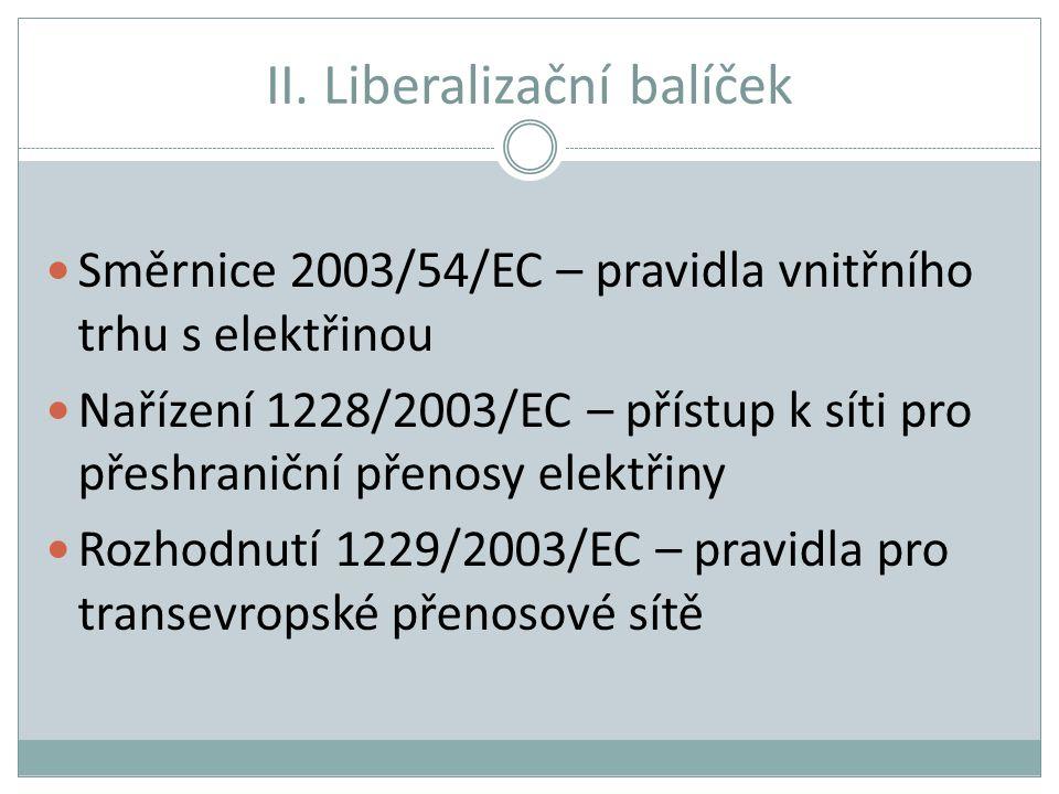 II. Liberalizační balíček Směrnice 2003/54/EC – pravidla vnitřního trhu s elektřinou Nařízení 1228/2003/EC – přístup k síti pro přeshraniční přenosy e
