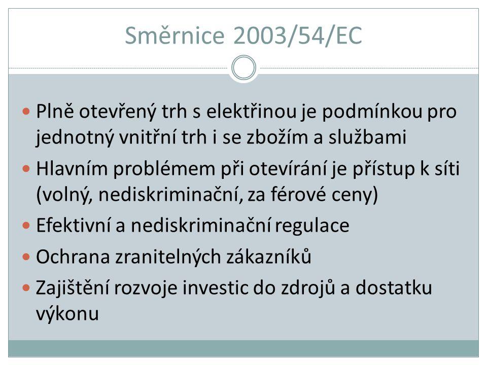 Směrnice 2003/54/EC Plně otevřený trh s elektřinou je podmínkou pro jednotný vnitřní trh i se zbožím a službami Hlavním problémem při otevírání je pří