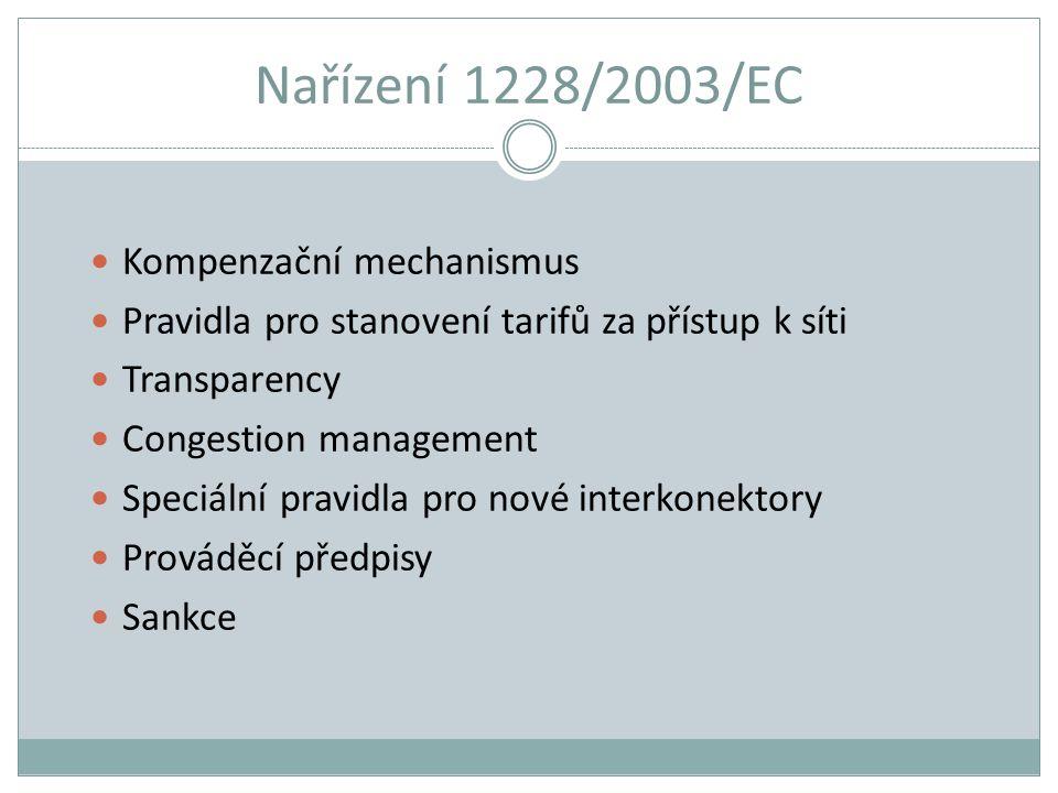 Nařízení 1228/2003/EC Kompenzační mechanismus Pravidla pro stanovení tarifů za přístup k síti Transparency Congestion management Speciální pravidla pr