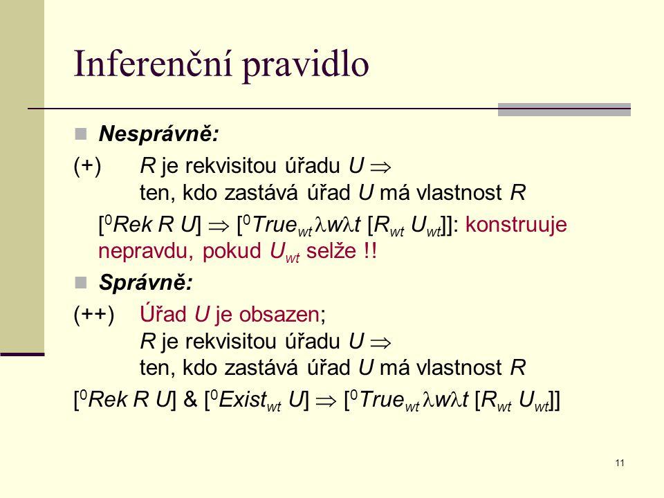 11 Inferenční pravidlo Nesprávně: (+)R je rekvisitou úřadu U  ten, kdo zastává úřad U má vlastnost R [ 0 Rek R U]  [ 0 True wt w t [R wt U wt ]]: ko