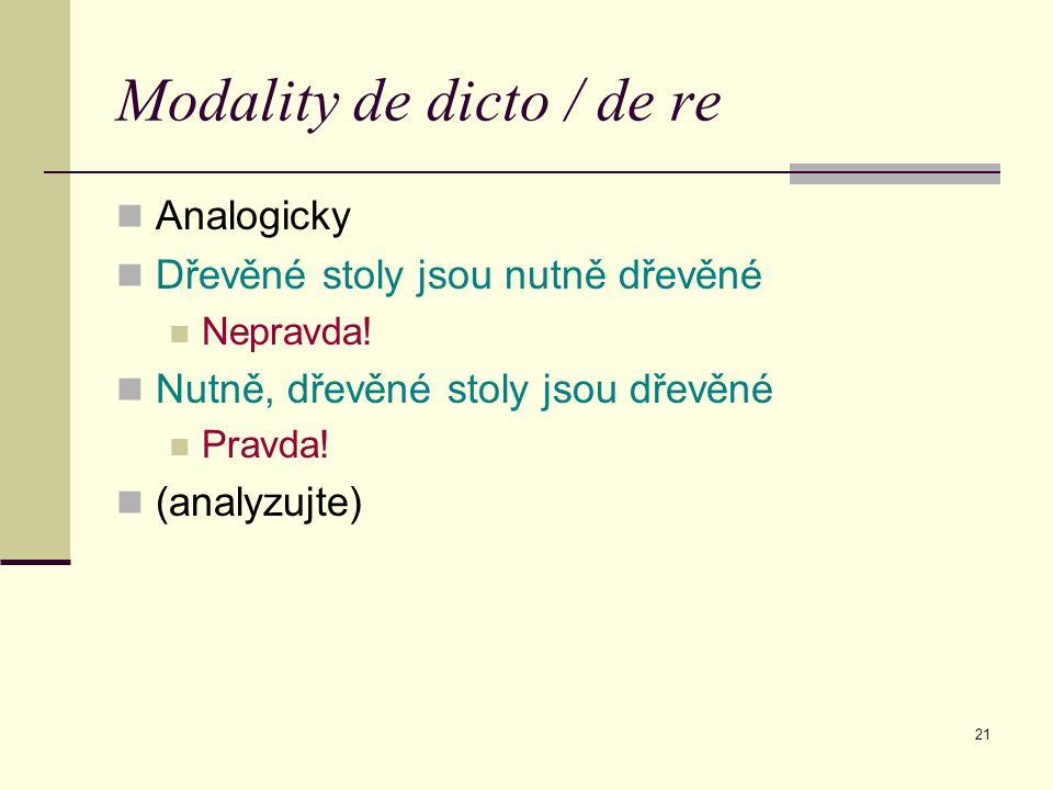 21 Modality de dicto / de re Analogicky Dřevěné stoly jsou nutně dřevěné Nepravda.
