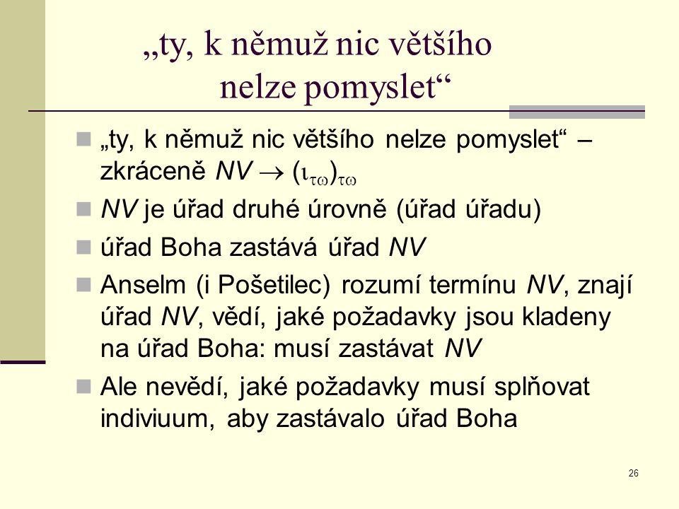 """26 """"ty, k němuž nic většího nelze pomyslet """"ty, k němuž nic většího nelze pomyslet – zkráceně NV  (   )  NV je úřad druhé úrovně (úřad úřadu) úřad Boha zastává úřad NV Anselm (i Pošetilec) rozumí termínu NV, znají úřad NV, vědí, jaké požadavky jsou kladeny na úřad Boha: musí zastávat NV Ale nevědí, jaké požadavky musí splňovat indiviuum, aby zastávalo úřad Boha"""