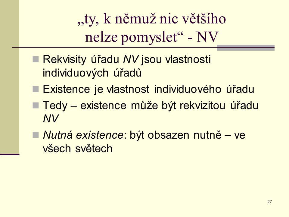 """27 """"ty, k němuž nic většího nelze pomyslet - NV Rekvisity úřadu NV jsou vlastnosti individuových úřadů Existence je vlastnost individuového úřadu Tedy – existence může být rekvizitou úřadu NV Nutná existence: být obsazen nutně – ve všech světech"""