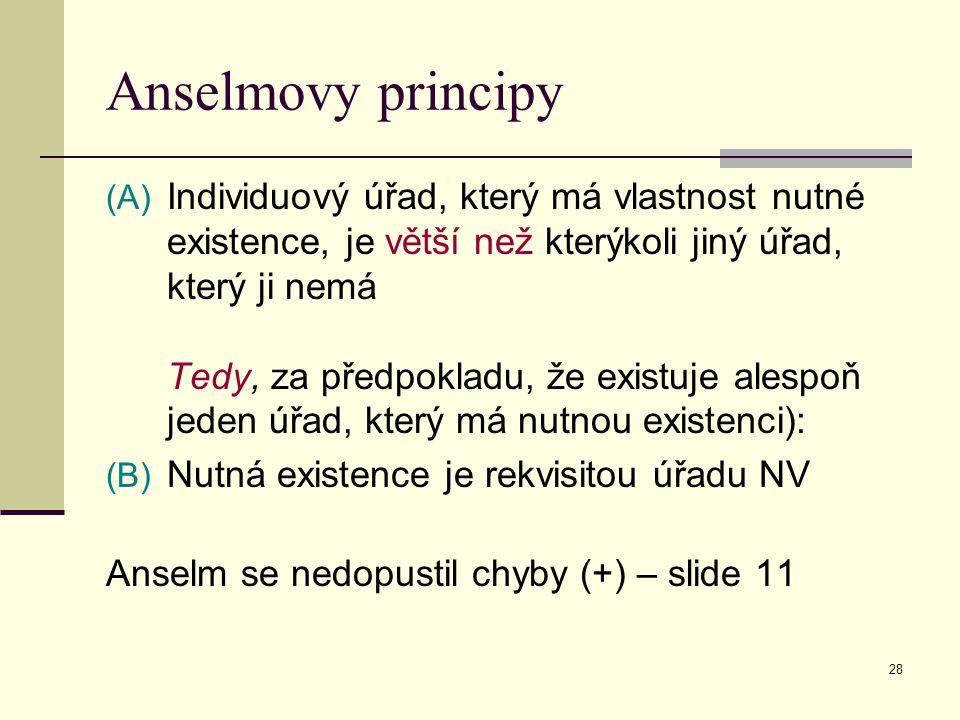 28 Anselmovy principy (A) Individuový úřad, který má vlastnost nutné existence, je větší než kterýkoli jiný úřad, který ji nemá Tedy, za předpokladu, že existuje alespoň jeden úřad, který má nutnou existenci): (B) Nutná existence je rekvisitou úřadu NV Anselm se nedopustil chyby (+) – slide 11