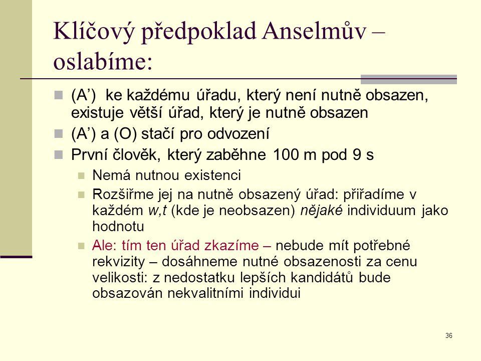 36 Klíčový předpoklad Anselmův – oslabíme: (A') ke každému úřadu, který není nutně obsazen, existuje větší úřad, který je nutně obsazen (A') a (O) sta