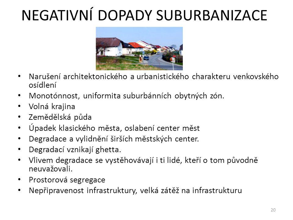 NEGATIVNÍ DOPADY SUBURBANIZACE Narušení architektonického a urbanistického charakteru venkovského osídlení Monotónnost, uniformita suburbánních obytný