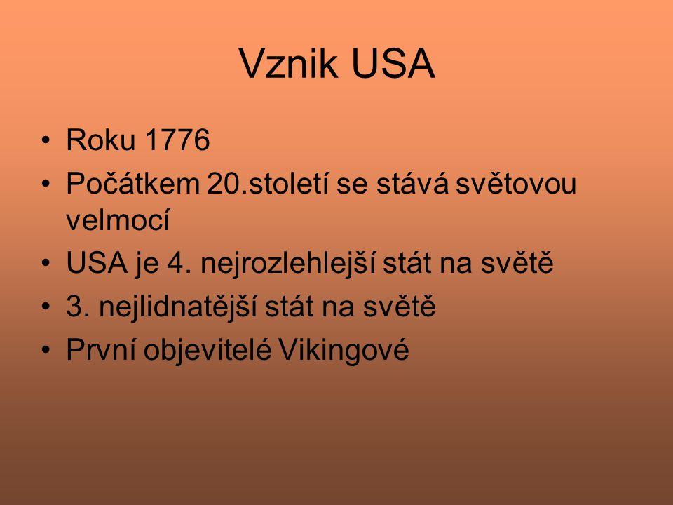 Vznik USA Roku 1776 Počátkem 20.století se stává světovou velmocí USA je 4. nejrozlehlejší stát na světě 3. nejlidnatější stát na světě První objevite