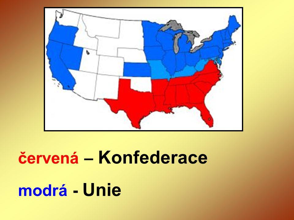 červená – Konfederace modrá - Unie