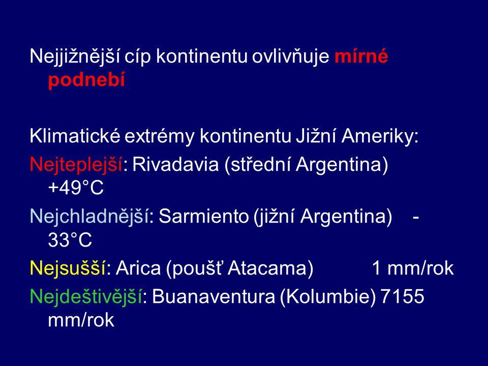 Nejjižnější cíp kontinentu ovlivňuje mírné podnebí Klimatické extrémy kontinentu Jižní Ameriky: Nejteplejší: Rivadavia (střední Argentina) +49°C Nejch