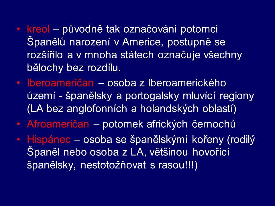 kreol – původně tak označováni potomci Španělů narození v Americe, postupně se rozšířilo a v mnoha státech označuje všechny bělochy bez rozdílu. Ibero