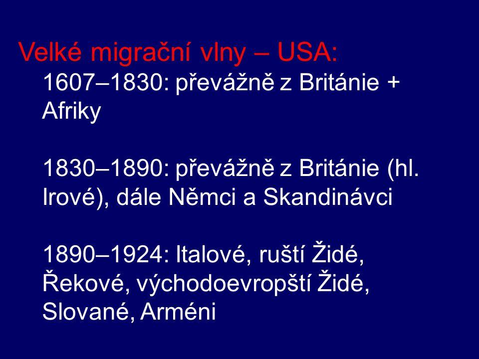 Velké migrační vlny – USA: 1607–1830: převážně z Británie + Afriky 1830–1890: převážně z Británie (hl. Irové), dále Němci a Skandinávci 1890–1924: Ita