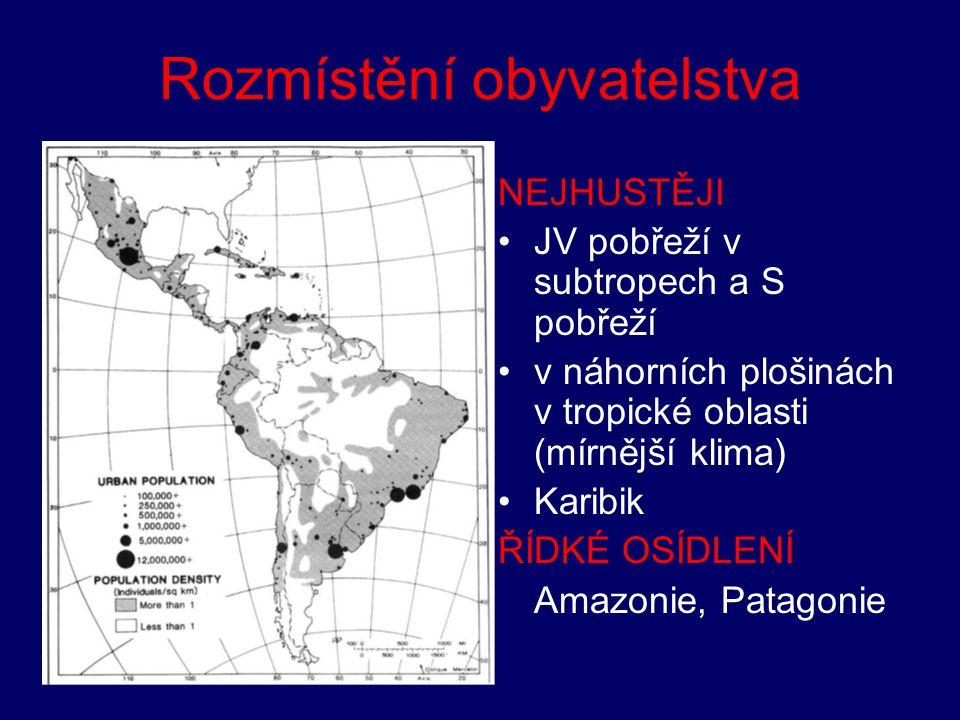 Rozmístění obyvatelstva NEJHUSTĚJI JV pobřeží v subtropech a S pobřeží v náhorních plošinách v tropické oblasti (mírnější klima) Karibik ŘÍDKÉ OSÍDLEN