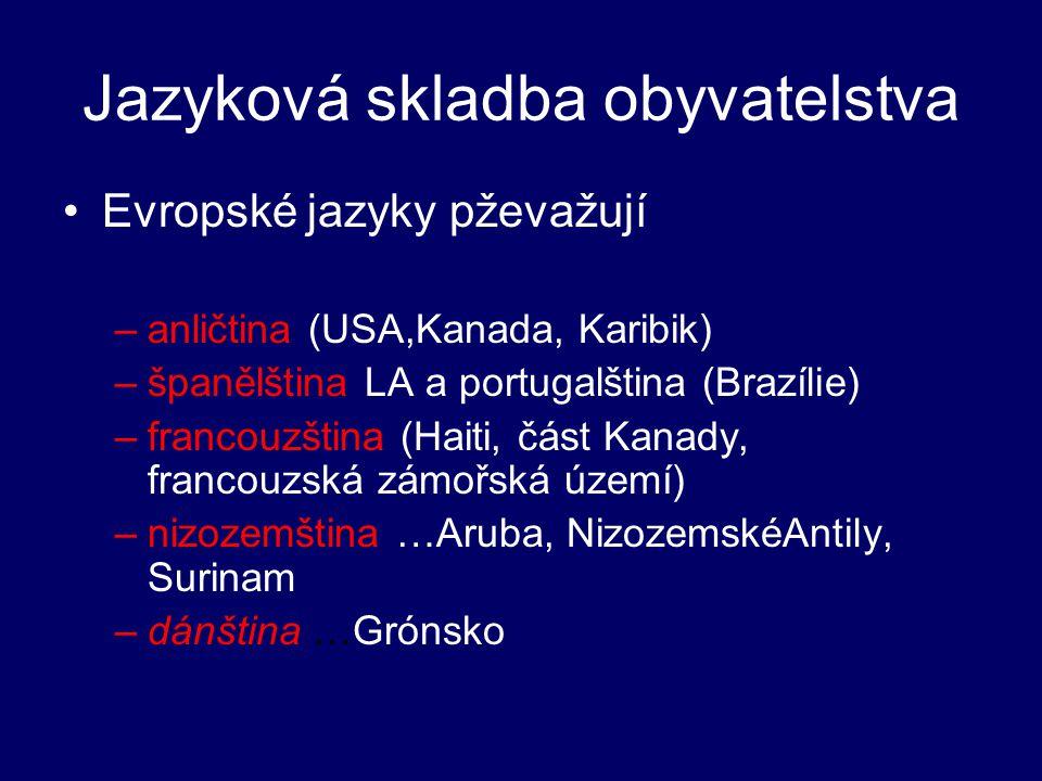 Jazyková skladba obyvatelstva Evropské jazyky pževažují –anličtina (USA,Kanada, Karibik) –španělština LA a portugalština (Brazílie) –francouzština (Ha