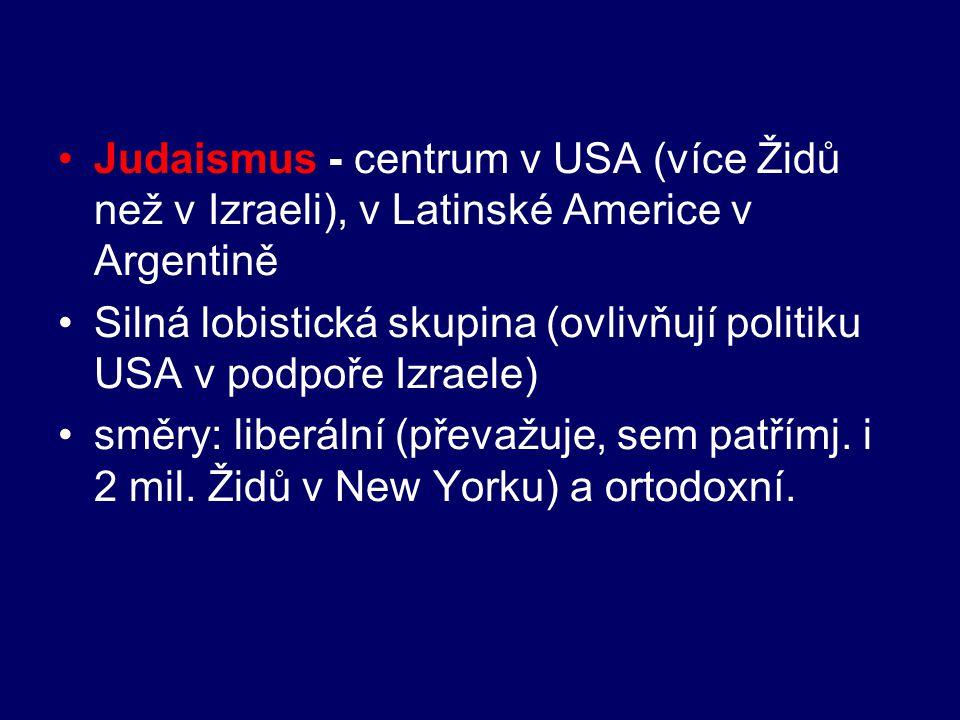 Judaismus - centrum v USA (více Židů než v Izraeli), v Latinské Americe v Argentině Silná lobistická skupina (ovlivňují politiku USA v podpoře Izraele
