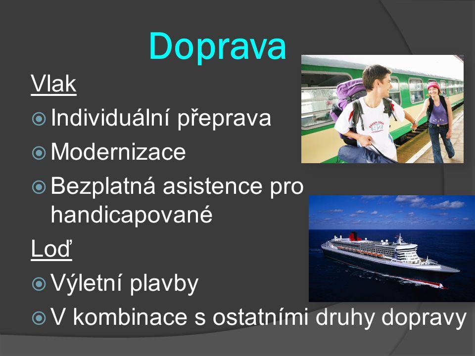 Doprava Vlak  Individuální přeprava  Modernizace  Bezplatná asistence pro handicapované Loď  Výletní plavby  V kombinace s ostatními druhy dopravy