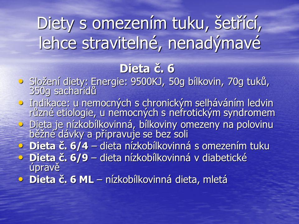 Diety s omezením tuku, šetřící, lehce stravitelné, nenadýmavé Dieta č. 6 Složení diety: Energie: 9500KJ, 50g bílkovin, 70g tuků, 350g sacharidů Složen