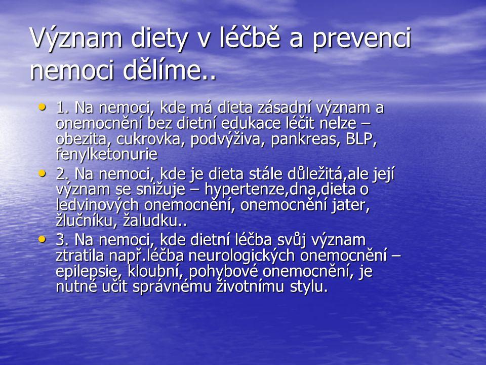Význam diety v léčbě a prevenci nemoci dělíme.. 1. Na nemoci, kde má dieta zásadní význam a onemocnění bez dietní edukace léčit nelze – obezita, cukro