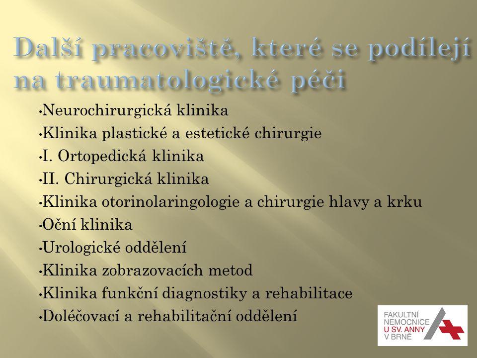 Neurochirurgická klinika Klinika plastické a estetické chirurgie I. Ortopedická klinika II. Chirurgická klinika Klinika otorinolaringologie a chirurgi