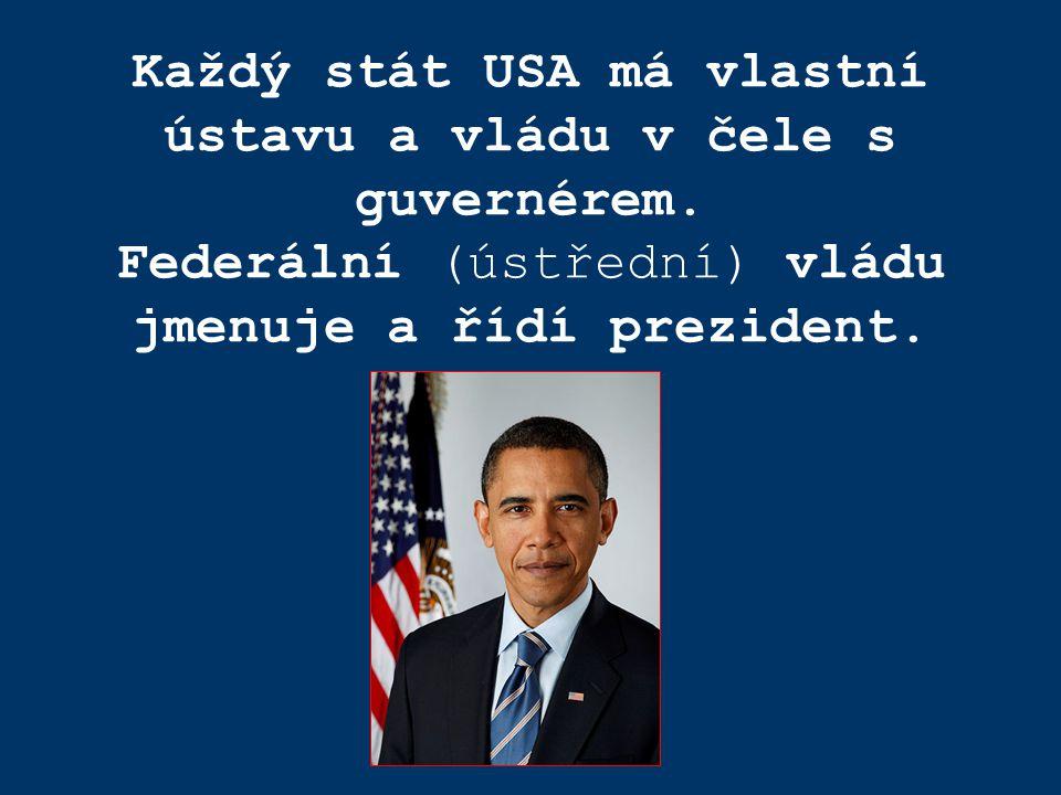 Každý stát USA má vlastní ústavu a vládu v čele s guvernérem. Federální (ústřední) vládu jmenuje a řídí prezident.