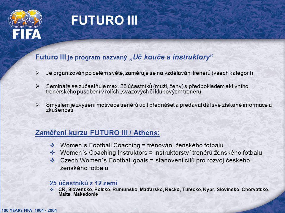 """FUTURO III Futuro III je program nazvaný """"Uč kouče a instruktory  Je organizován po celém světě, zaměřuje se na vzdělávání trenérů (všech kategorií)  Semináře se zúčastňuje max."""