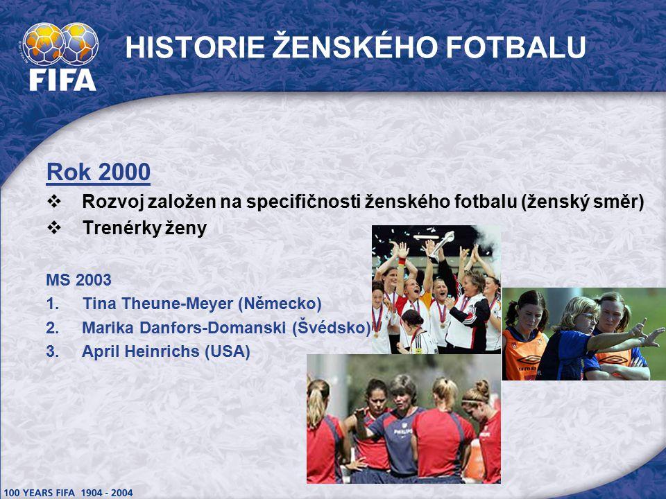 HISTORIE ŽENSKÉHO FOTBALU Rok 2000  Rozvoj založen na specifičnosti ženského fotbalu (ženský směr)  Trenérky ženy MS 2003  Tina Theune-Meyer (Německo)  Marika Danfors-Domanski (Švédsko)  April Heinrichs (USA)
