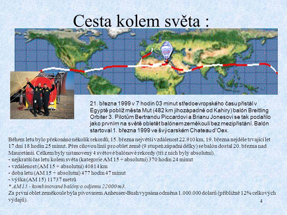4 Cesta kolem světa : 21. března 1999 v 7 hodin 03 minut středoevropského času přistál v Egyptě poblíž města Mut (482 km jihozápadně od Kahiry) balón