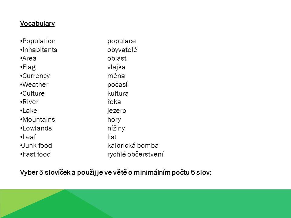 Vocabulary Populationpopulace Inhabitantsobyvatelé Areaoblast Flagvlajka Currencyměna Weatherpočasí Culturekultura Riverřeka Lakejezero Mountainshory