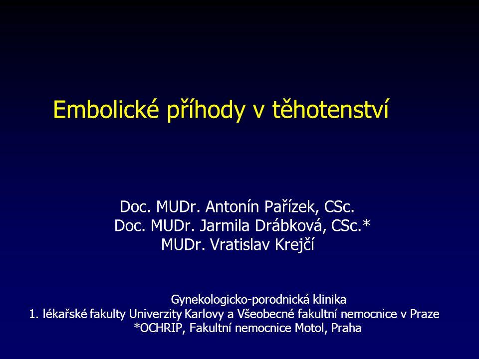 Embolické příhody v těhotenství Doc.MUDr. Antonín Pařízek, CSc.