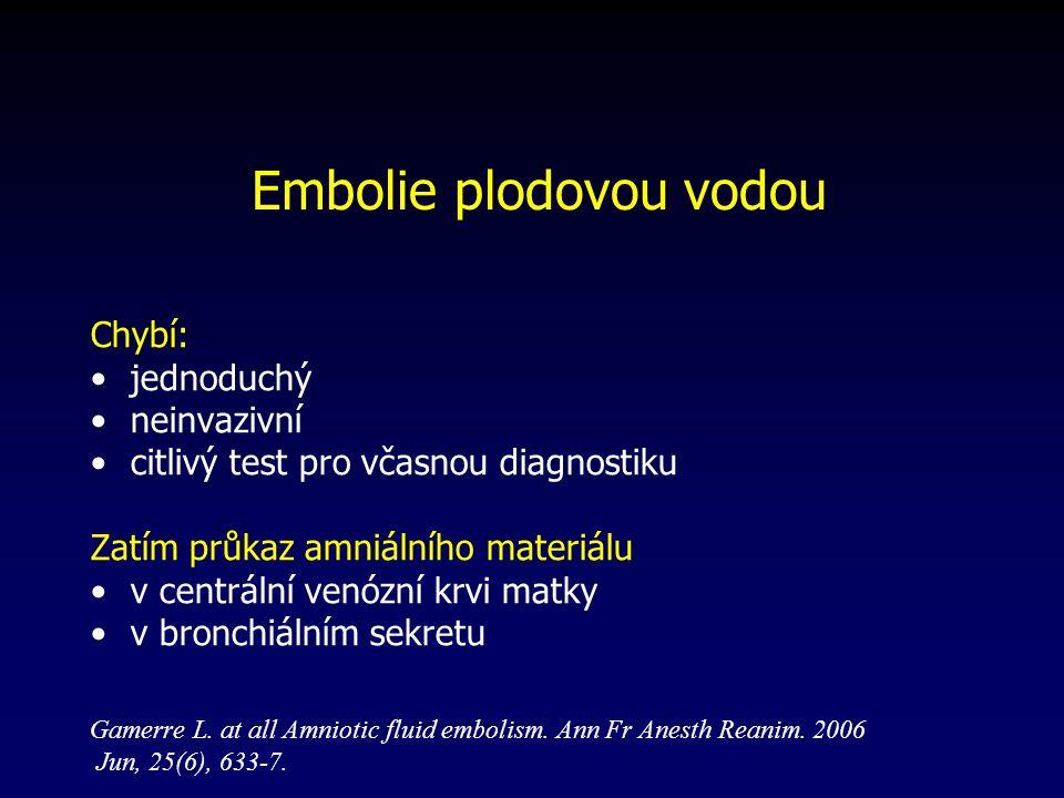 Chybí: jednoduchý neinvazivní citlivý test pro včasnou diagnostiku Zatím průkaz amniálního materiálu v centrální venózní krvi matky v bronchiálním sekretu Gamerre L.