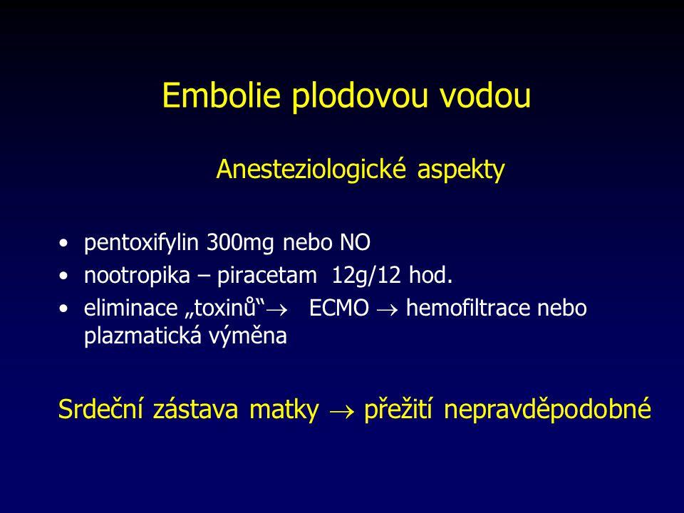 """Anesteziologické aspekty pentoxifylin 300mg nebo NO nootropika – piracetam 12g/12 hod. eliminace """"toxinů""""  ECMO  hemofiltrace nebo plazmatická výměn"""