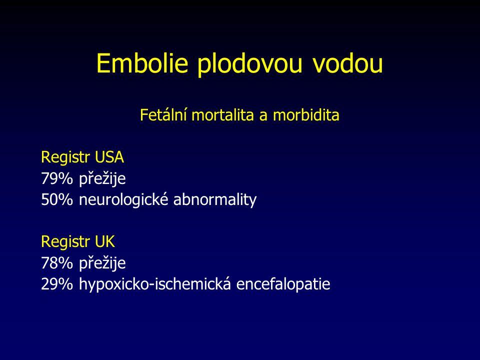 Embolie plodovou vodou Fetální mortalita a morbidita Registr USA 79% přežije 50% neurologické abnormality Registr UK 78% přežije 29% hypoxicko-ischemická encefalopatie