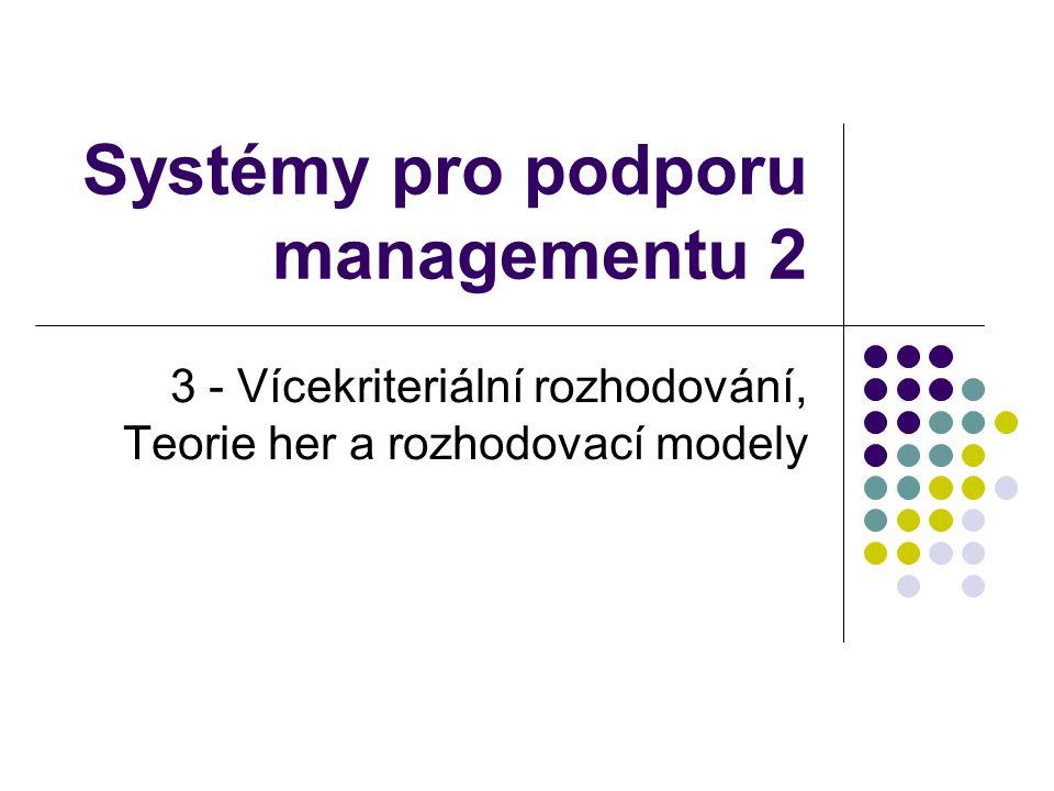Obsah přednášky Vícekriteriální rozhodování Teorie her